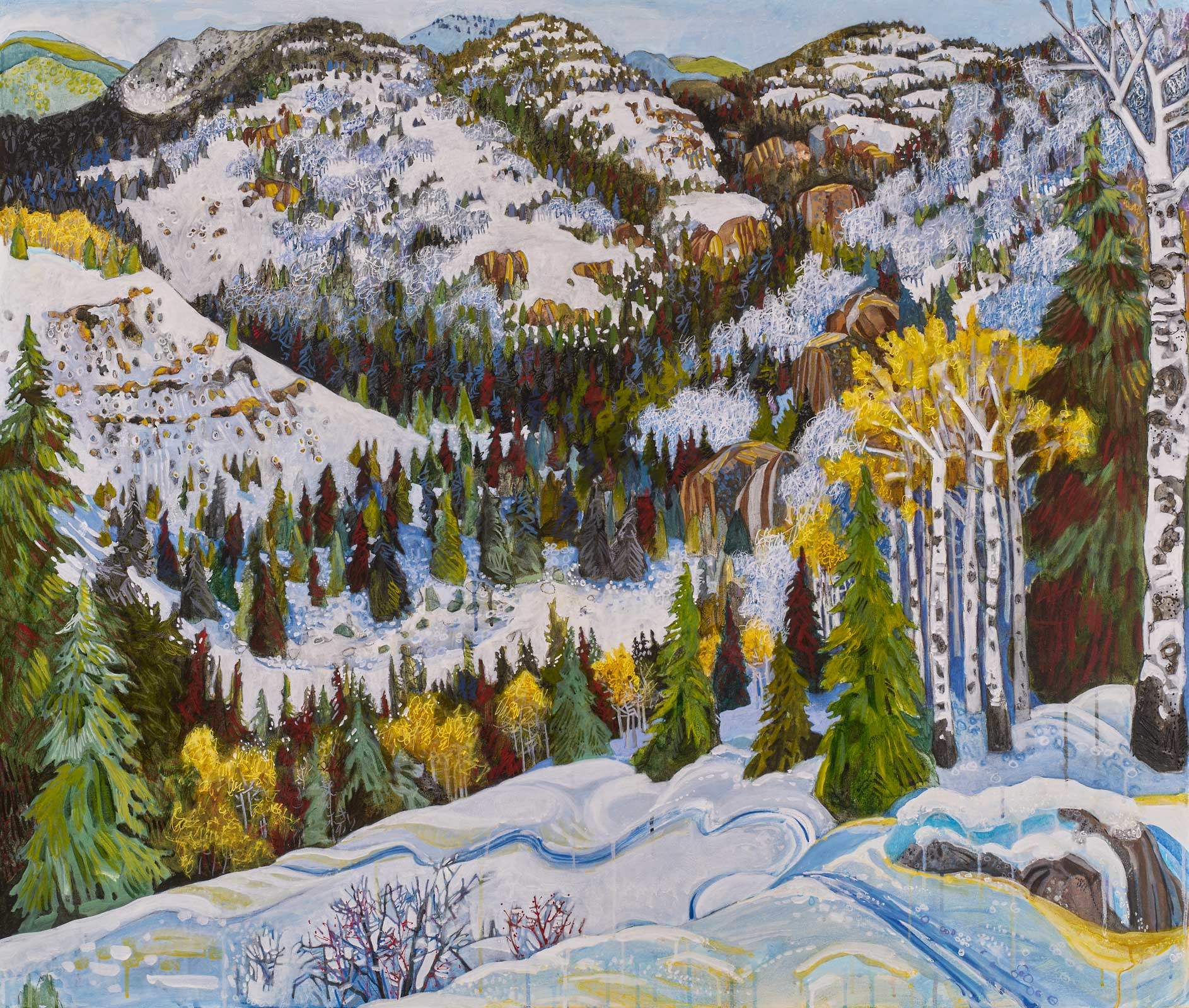 contemporary landscape painting by Lance Whitner hanging in Pine Moon Fine Art. Big View of Soda Creek 44x52""