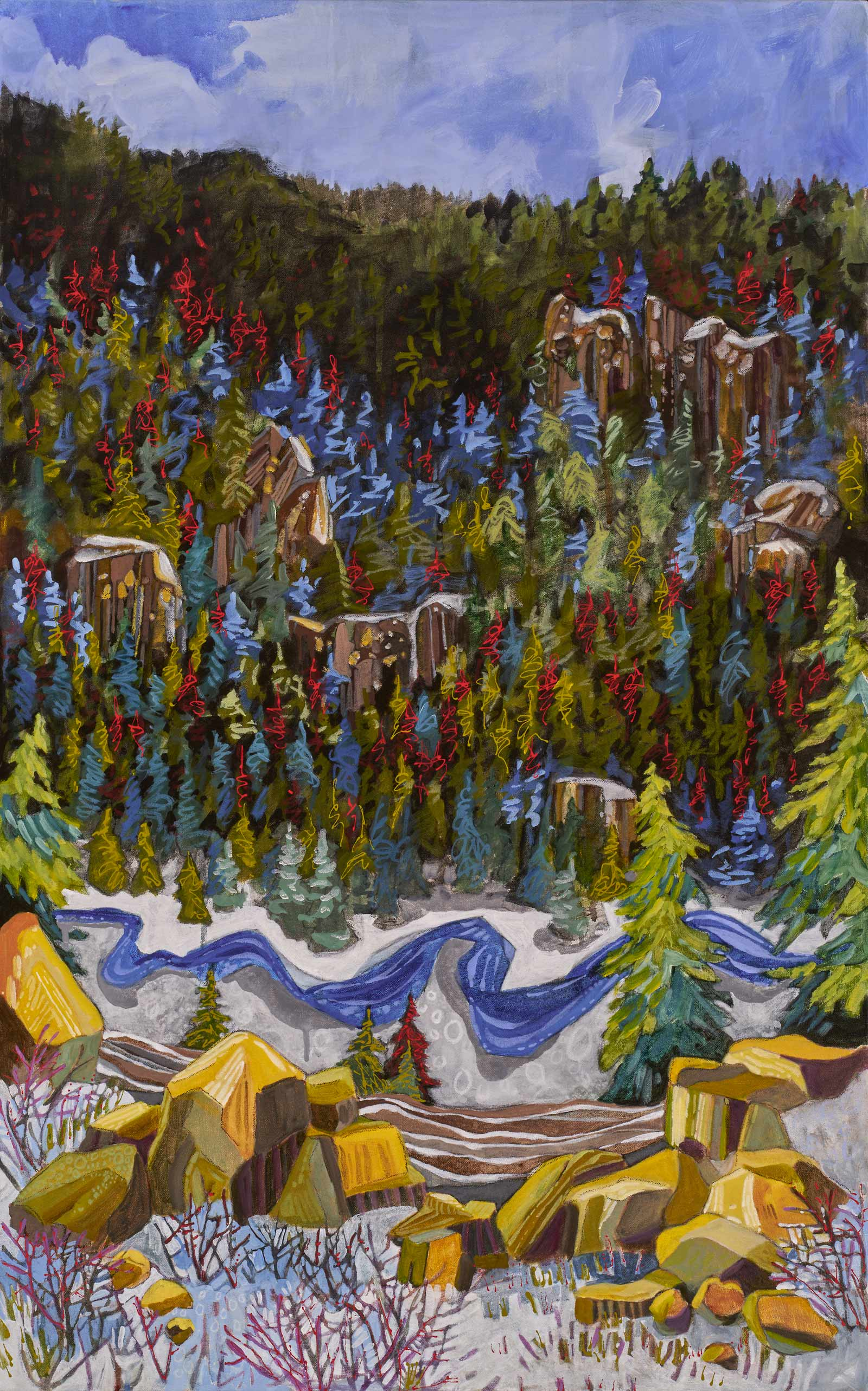 contemporary landscape painting by Lance Whitner hanging in Pine Moon Fine Art. Fish Creek Canyon, 37x23