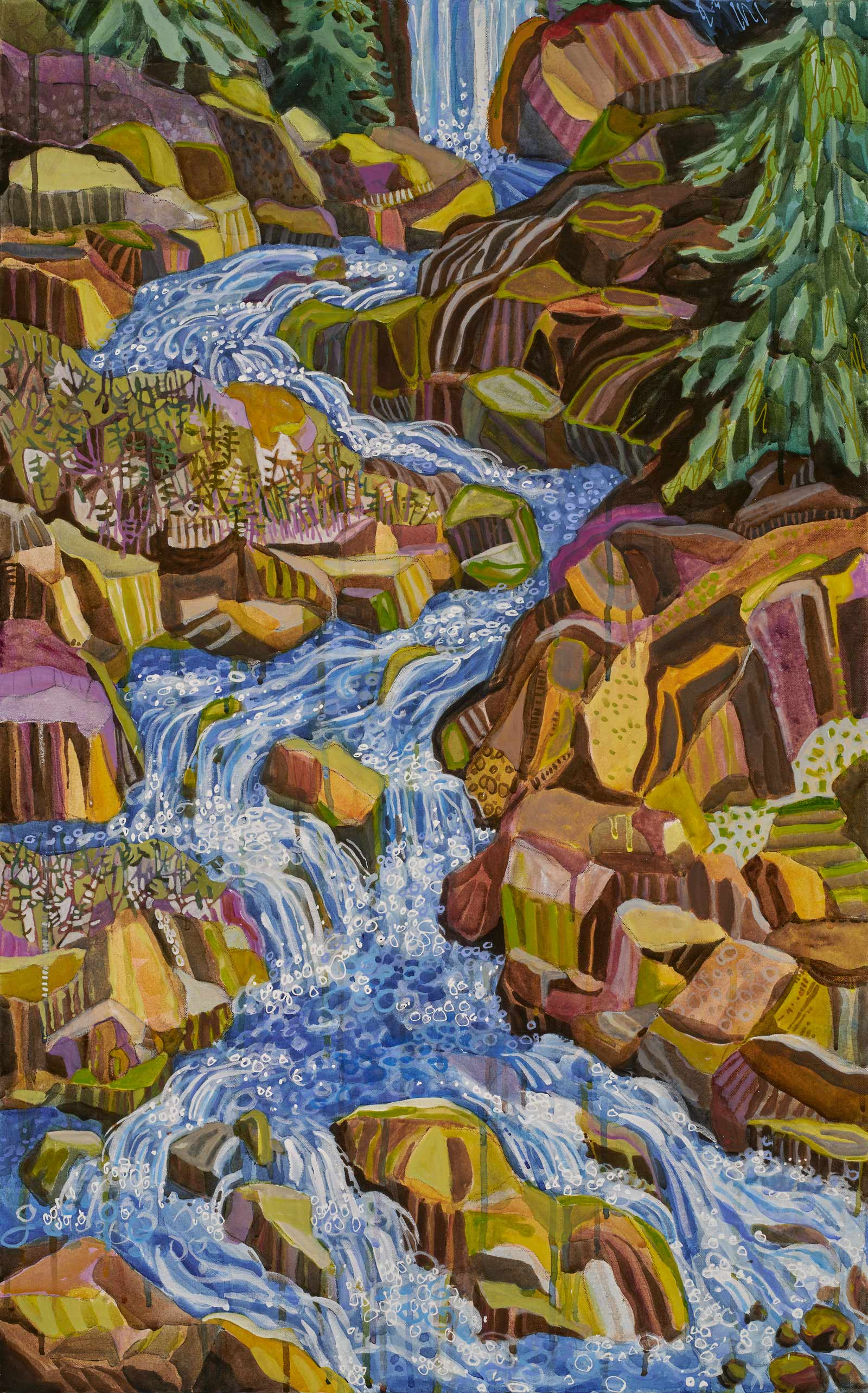 contemporary landscape painting by Lance Whitner hanging in Pine Moon Fine Art. Fish Creek Falls, 74x23 diptych bottom