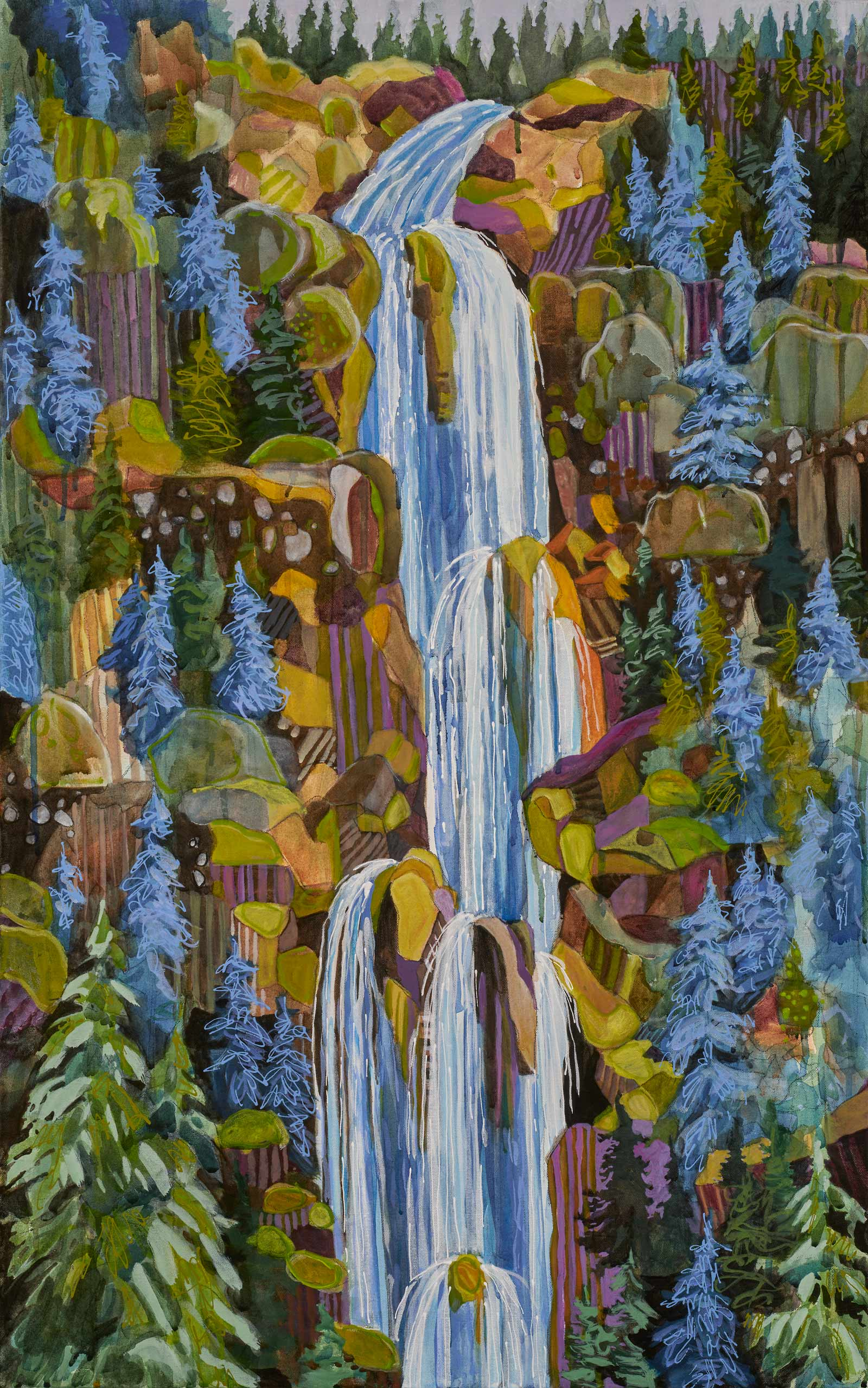 contemporary landscape painting by Lance Whitner hanging in Pine Moon Fine Art. Fish Creek Falls 74x23 diptych top
