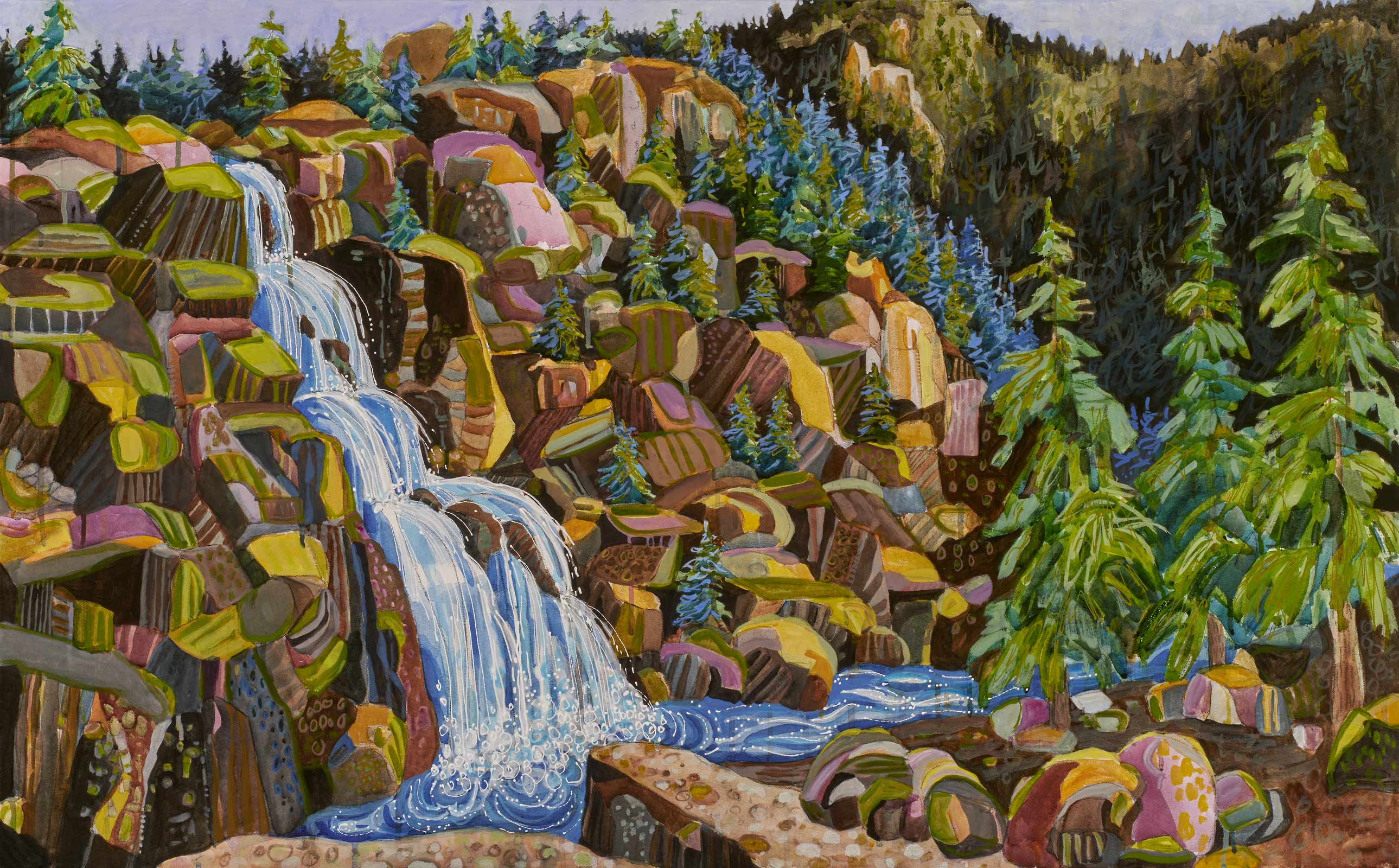 contemporary landscape painting by Lance Whitner hanging in Pine Moon Fine Art. Upper Fish Creek Falls, 28x45