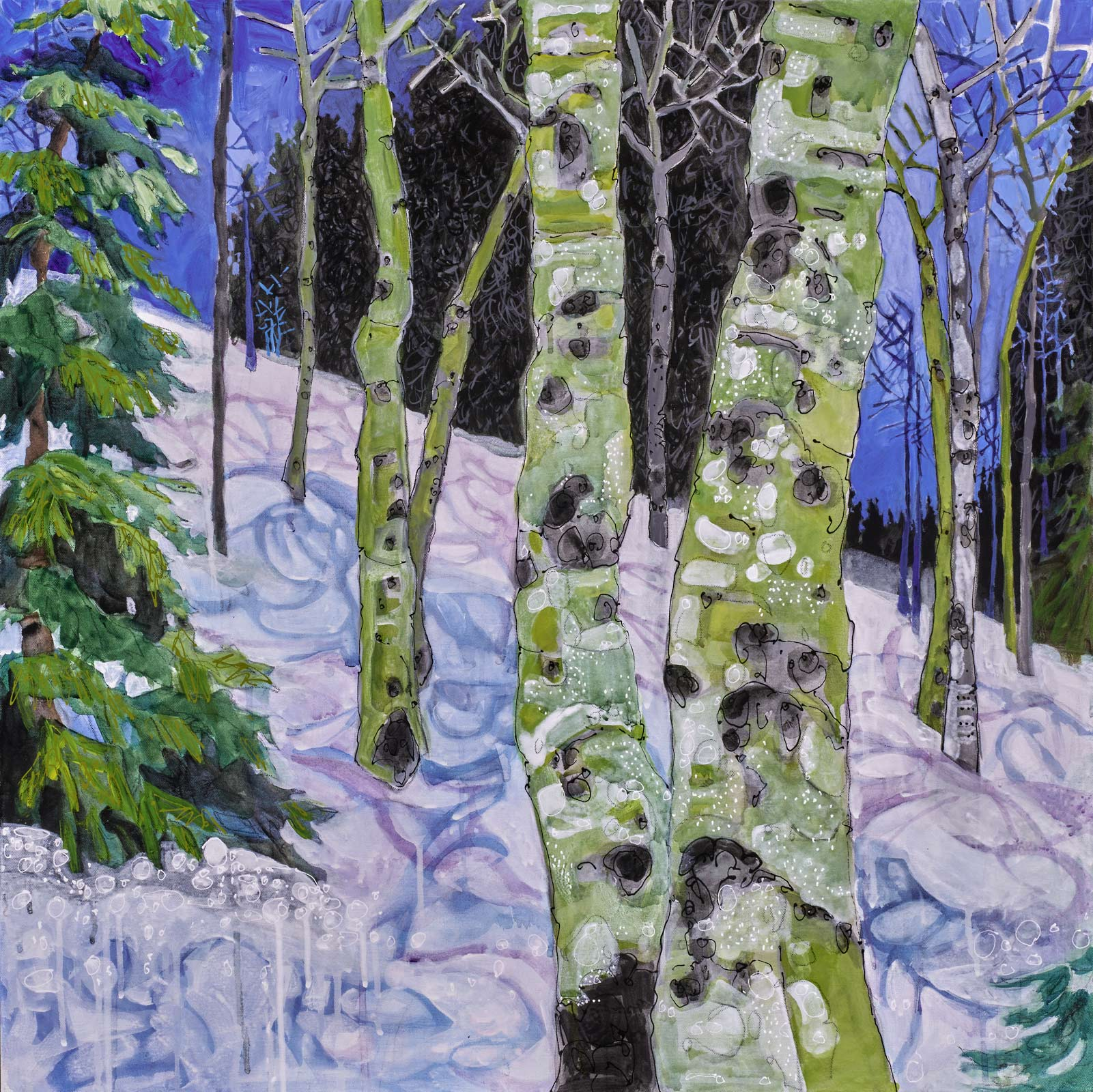 Winter Aspens 30x30. contemporary landscape painting by Lance Whitner hanging in Pine Moon Fine Art.