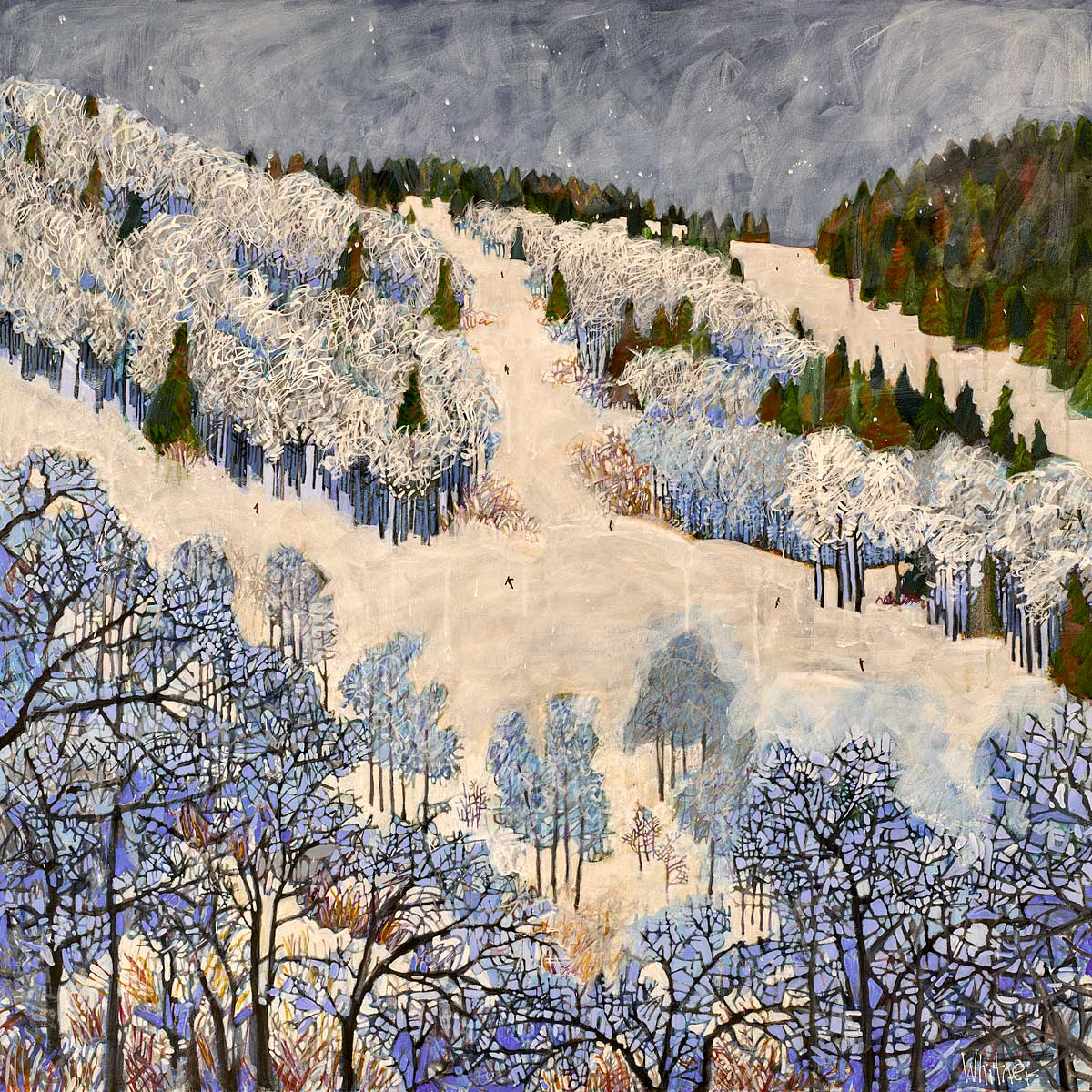 Powder Day ski painting Lance Whitner Colorado Steamboat springs artist