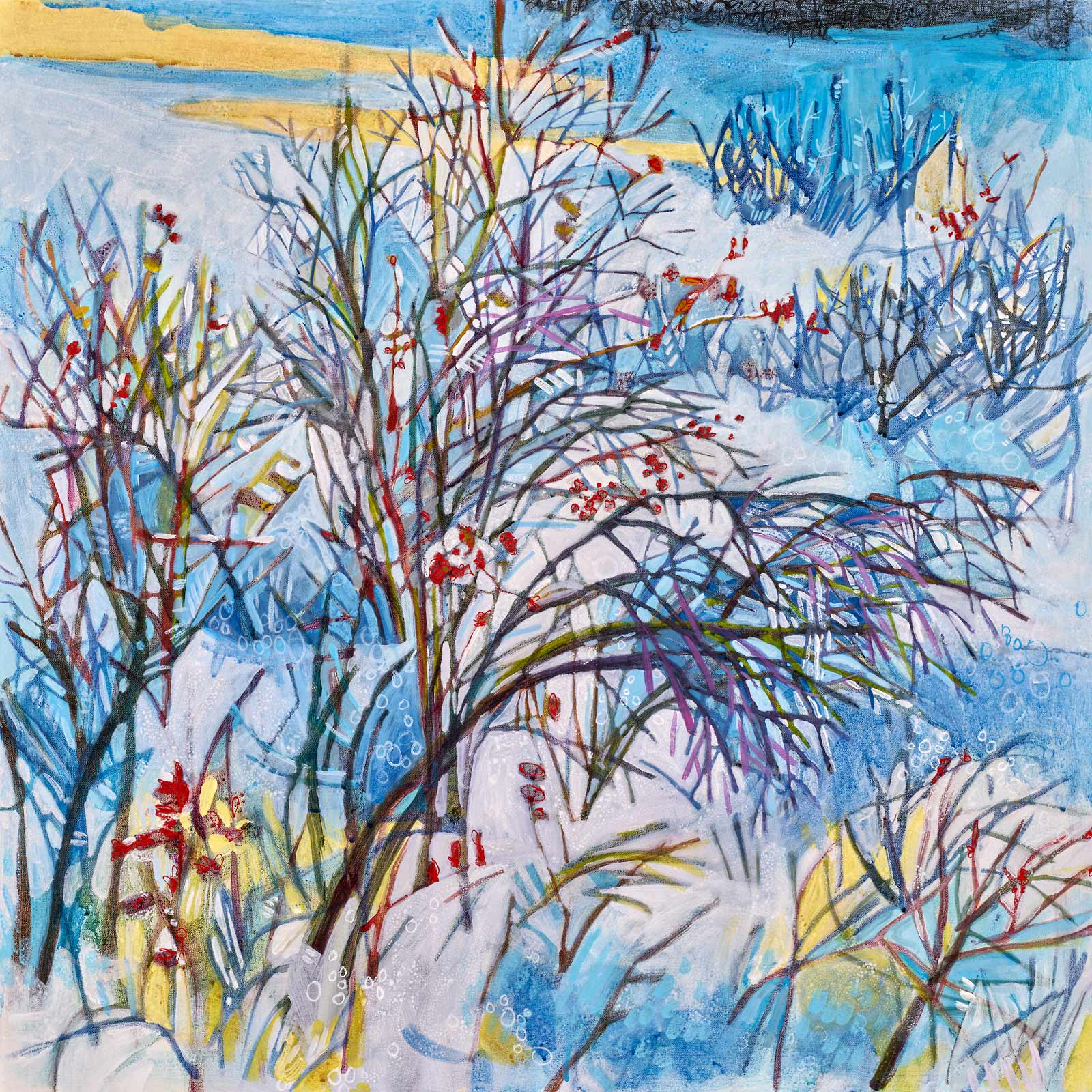 Winter Shrubs, 30x30. Contemporary landscape painting by Lance Whitner hanging in Pine Moon Fine Art.
