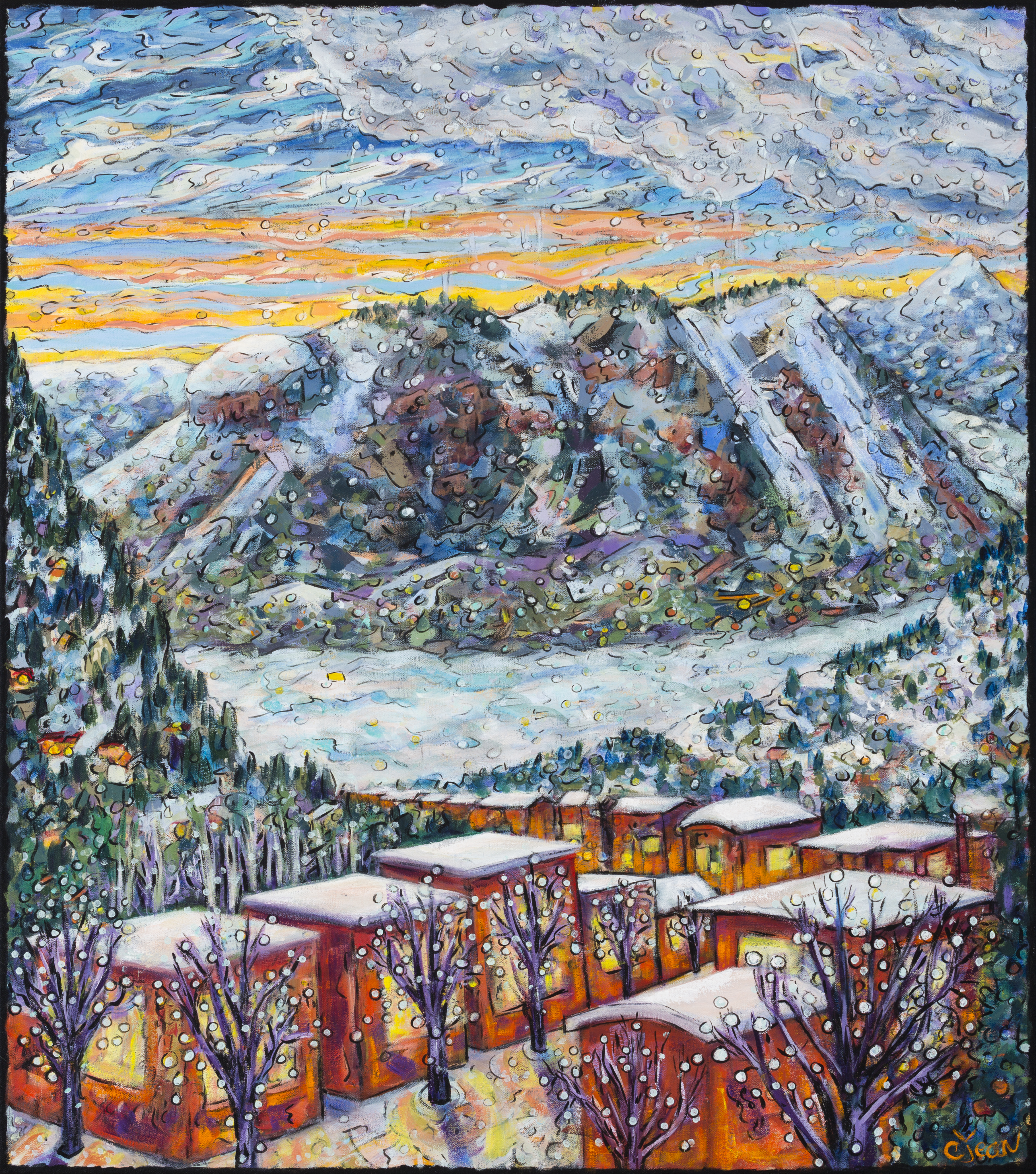 OldTownSunset  Carol Jean a Steamboat Springs Colorado artist featured at Pine Moon Fine art also performace at Sunset Happy Hour