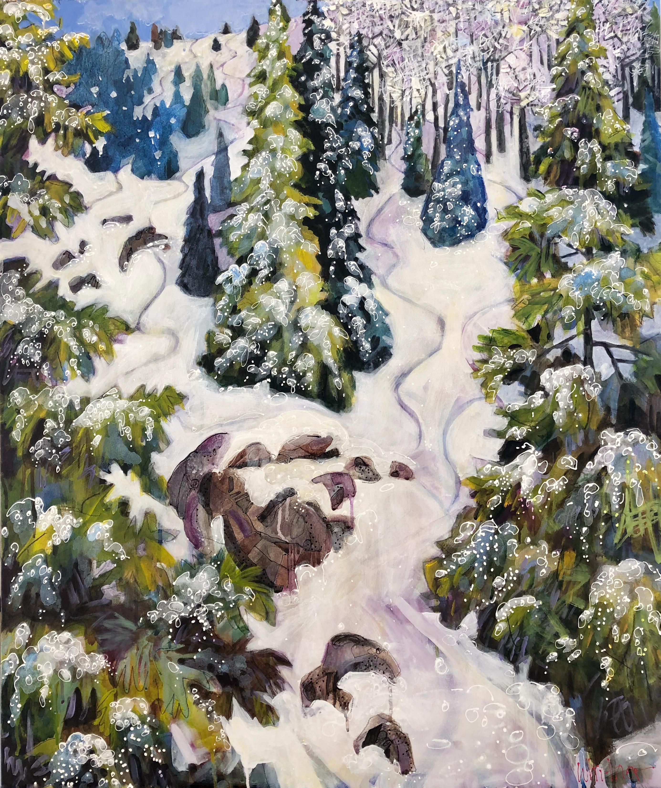 Lance Whitners beautiful winter landscpe painting of ski tracks in the trees Powder Stash Steamboat Springs Colorado
