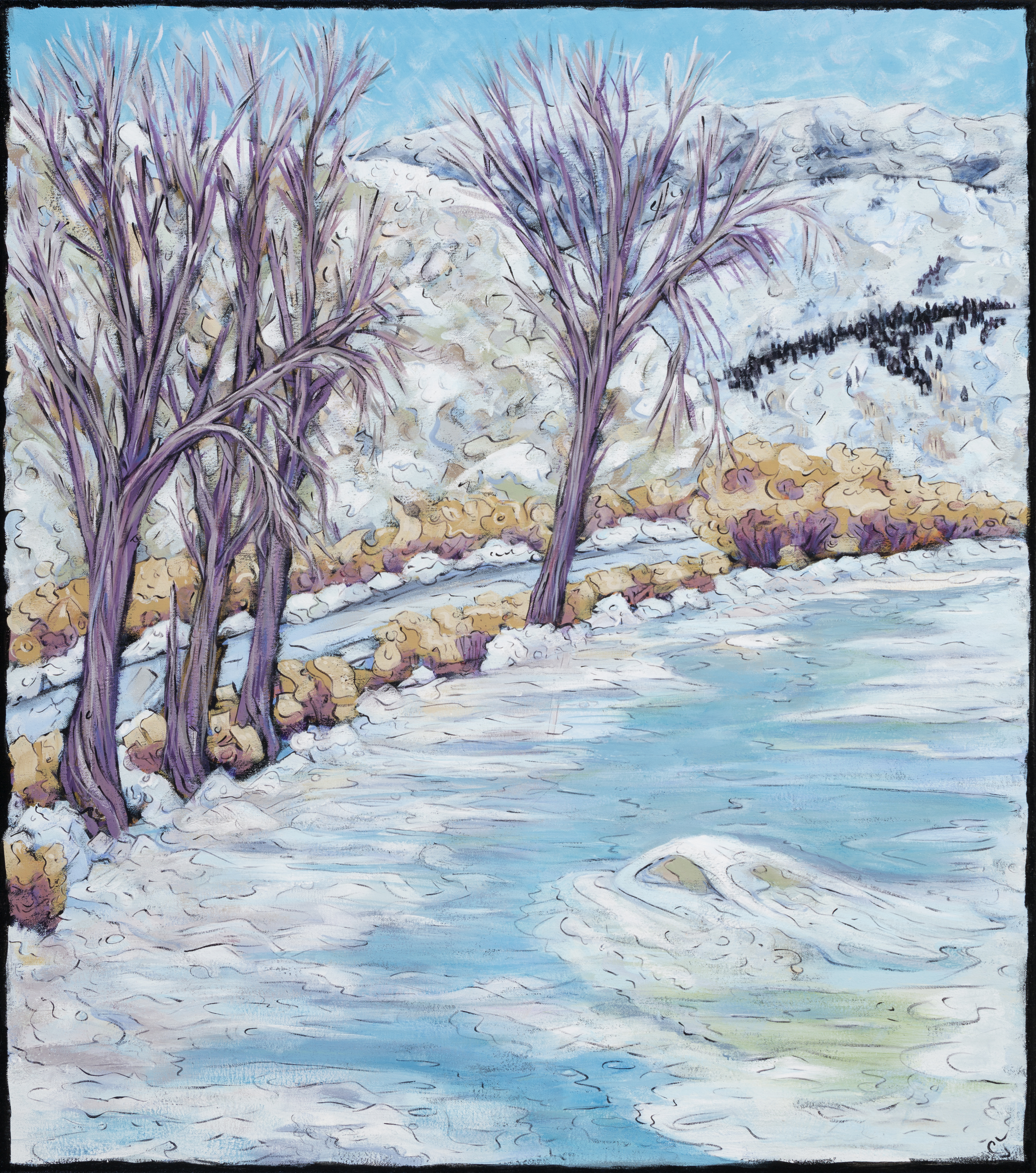 RiverRoadBend  Carol Jean a Steamboat Springs Colorado artist featured at Pine Moon Fine art also performace at Sunset Happy Hour