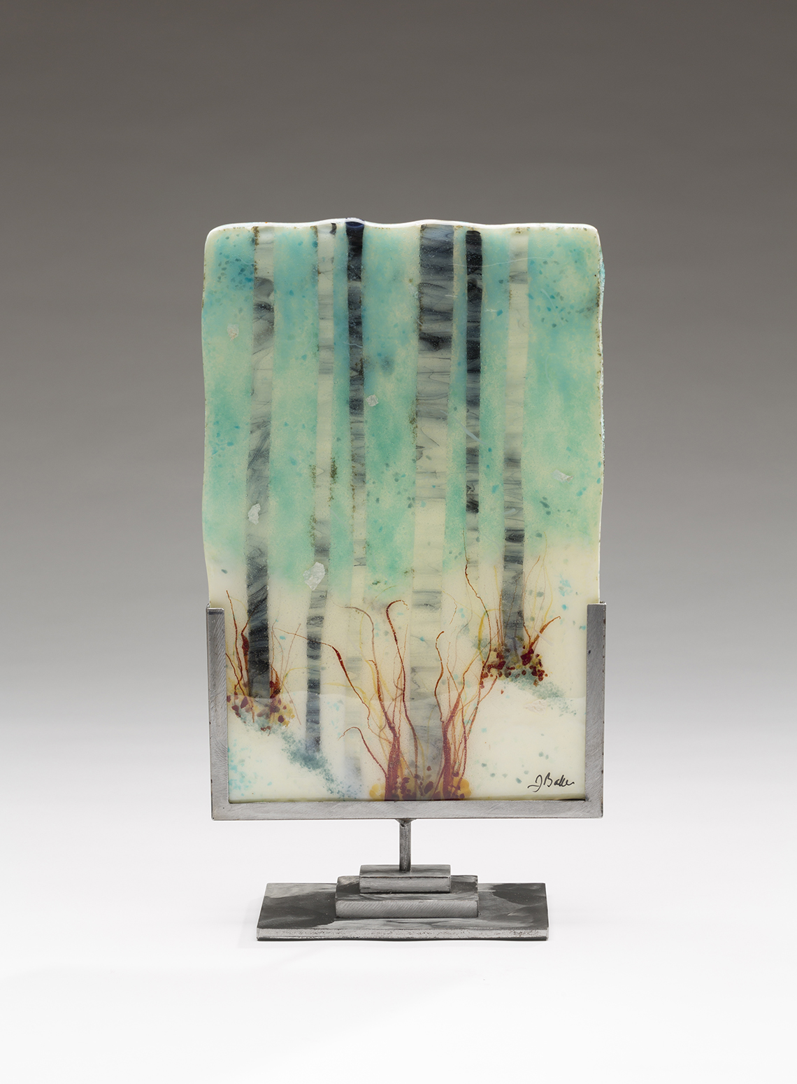 contemporary glass artwork by Jennifer Baker in Pine Moon Fine Art.SnowyDay8Wx12H
