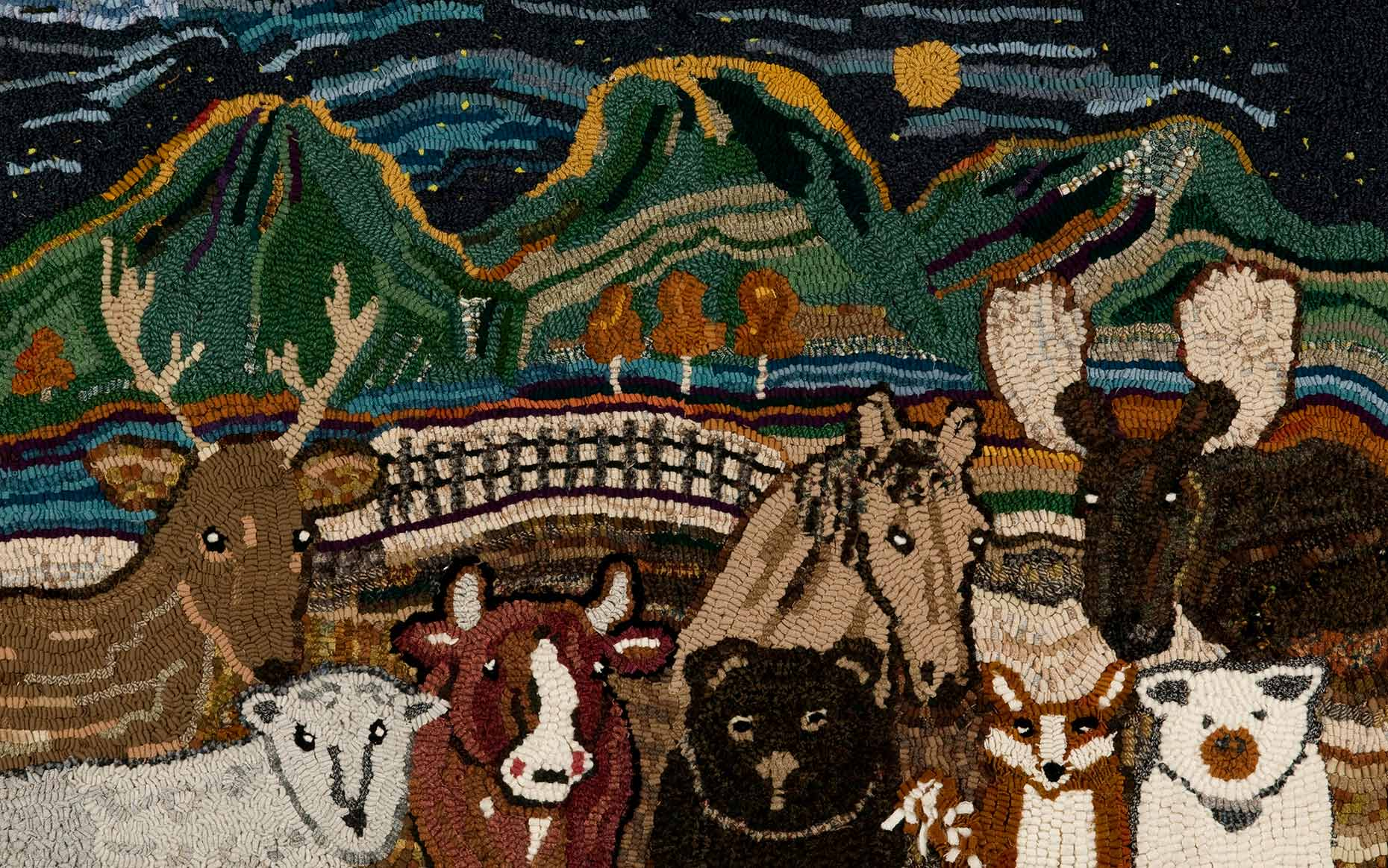 Sue Gallion wool hooker pine moon fine art animals steamboat springs colorado