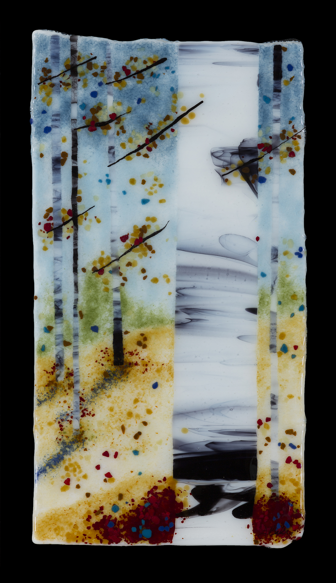 contemporary glass artwork by Jennifer Baker in Pine Moon Fine Art. Uplifted