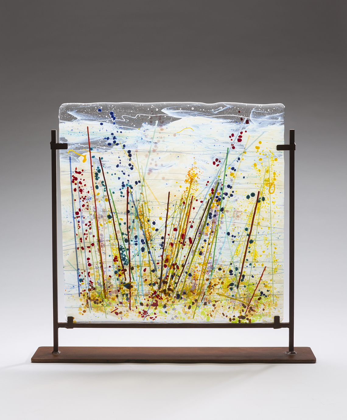 contemporary glass artwork by Jennifer Baker in Pine Moon Fine Art. WildGrassesI17Wx17Hcopy