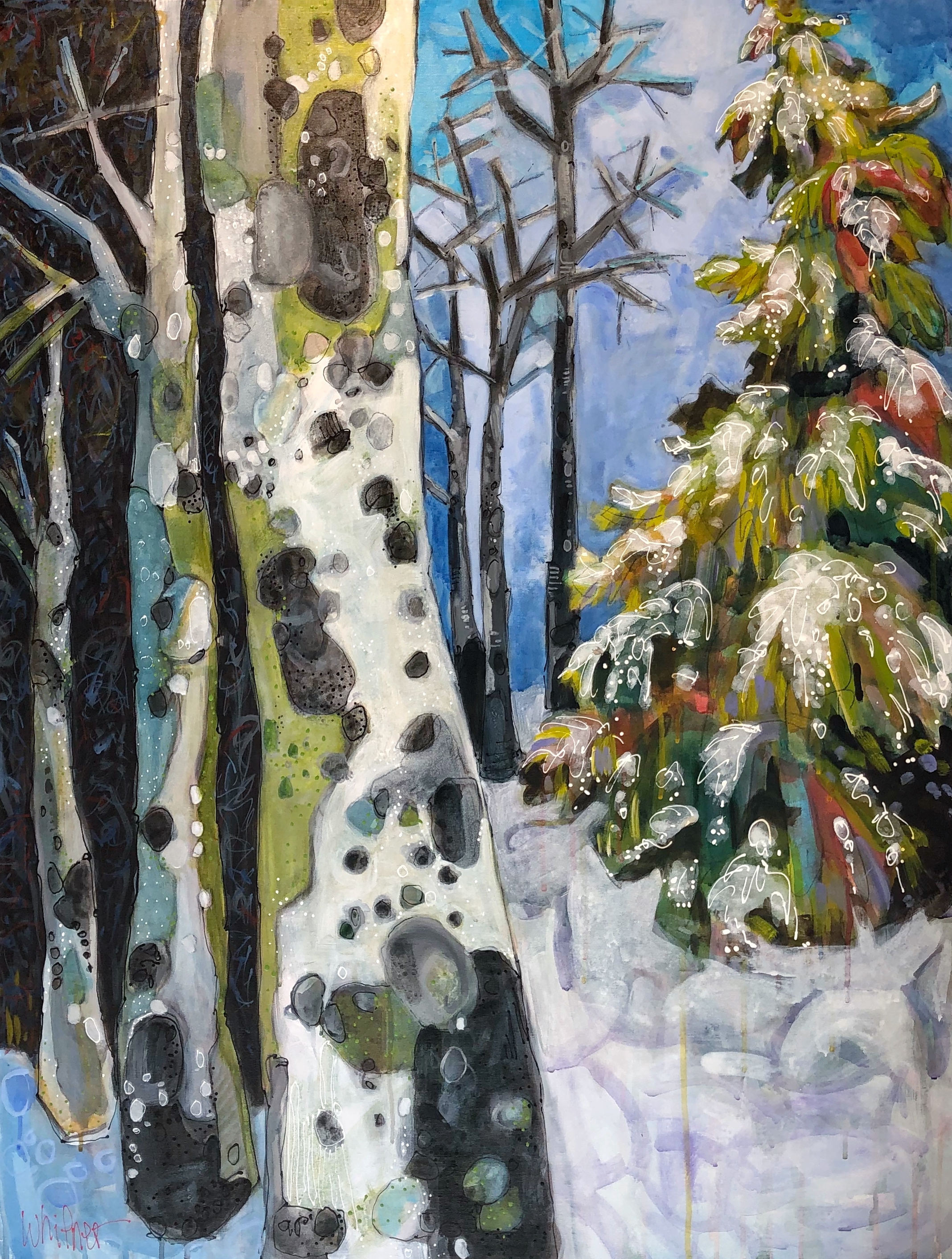 Lance Whitner winter aspen tree painting Winter Forest Adventurous No.1 Steamboat Springs Colorado